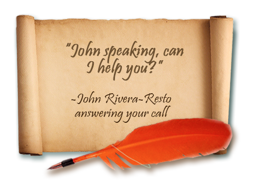 Scroll with phrase: John speaking, can I help you?