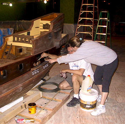 spanish-galleon-reconstruction,-by-john-rivera-resto,-2012,-being-inspected