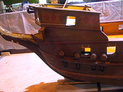spanish-galleon-reconstruction,-by-john-rivera-resto,-2012,-detail-of-prow-reconstruction