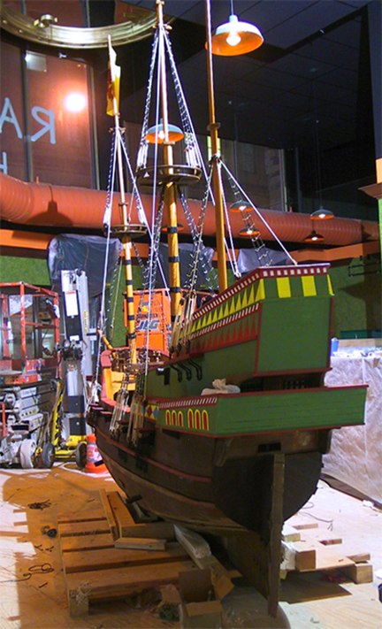 spanish-galleon-reconstruction,-by-john-rivera-resto,-2012,-detail-of-stern