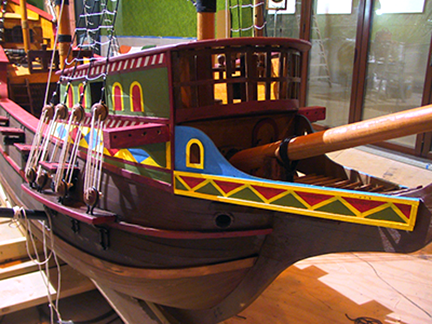 spanish-galleon-reconstruction,-by-john-rivera-resto,-2012,-finished-bow-detailing-and-mast-rigging