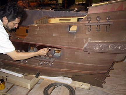 spanish-galleon-reconstruction,-by-john-rivera-resto,-2012,-staining-detail