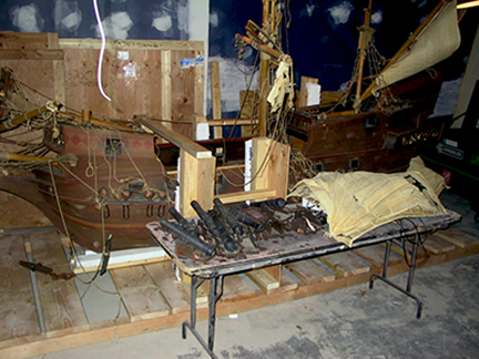 spanish-galleon-reconstruction,-by-john-rivera-resto,-2012,-taking-inventory