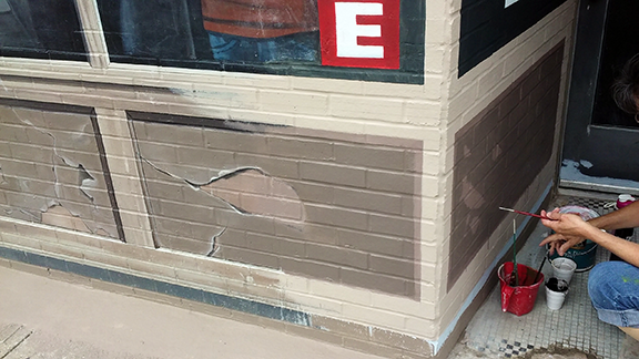repainting storefront panels