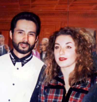 John Rivera-Resto and Karyl Kniepper at the unveiling of the Thinkers Coffee House Mural, 1995