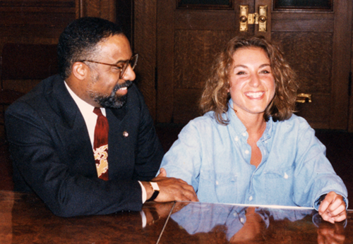 Cleveland mayor Michael White -with Karyl Kniepper- posing for his reference photograph