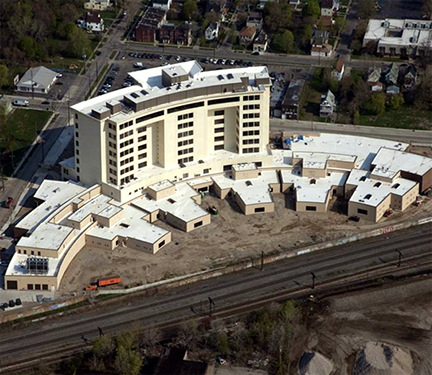The Cuyahoga County Juvenile Justice Center under construction, aerial rear view 2010