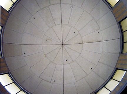 the underside of the dome during construction