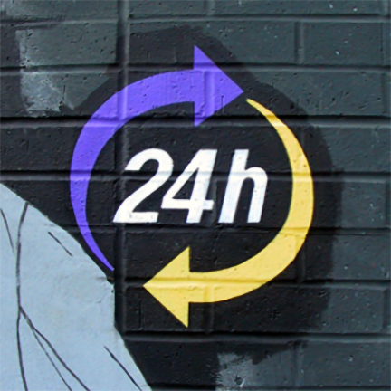 detail of 24-hour sign
