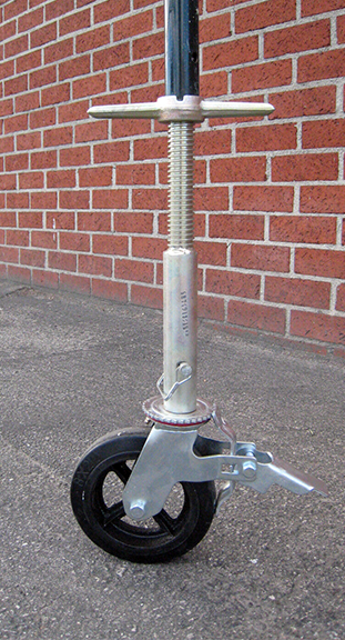 detail of scaffold solid stem socket jack and wheel