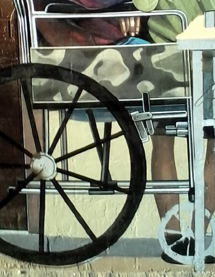 detail of wheelchair painting