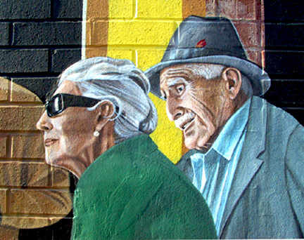 closeup of elderly couple