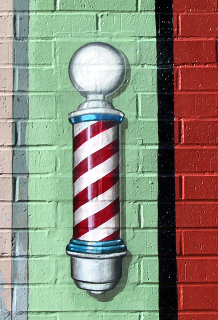 barbershop pole sign completed