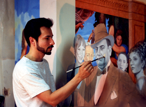john-rivera-resto-painting-the-thinkers-mural,-cleveland,-ohio,-1994