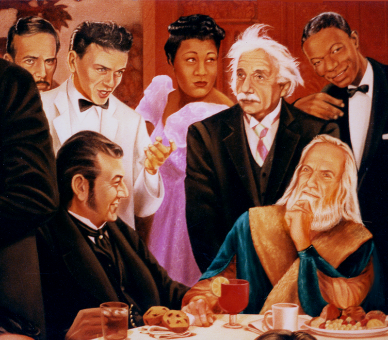 the thinkers mural enrico caruso and other celebrities, detail
