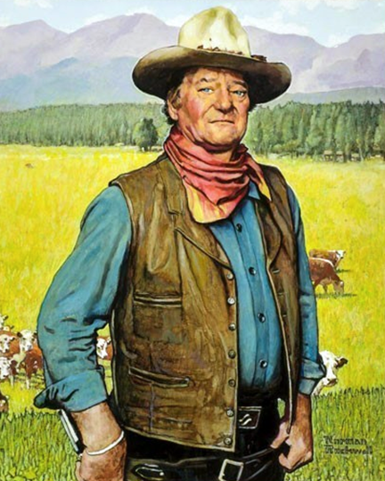 portrait-of-John-Wayne,-by-Norman-Rockwell,-1977